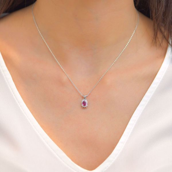 Picture of Charming Pave Diamond & Ruby Necklace