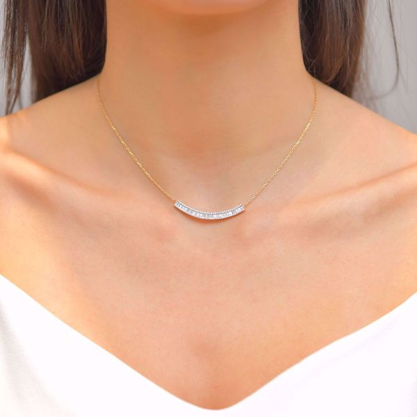 Picture of The Classy Curved Diamond Necklace
