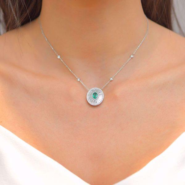 Picture of Eye-Catching Pave Diamond & Emerald Necklace