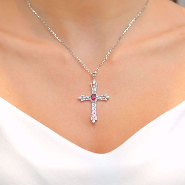 Picture of Eccentric Diamond Cross & Ruby Necklace