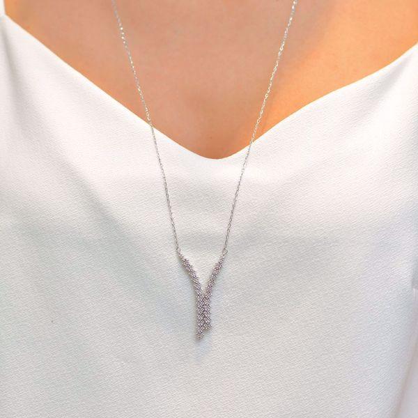 Picture of Unique V Shaped Diamond Necklace