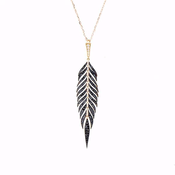 Picture of Black & White Feather Diamond Necklace