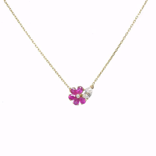 Picture of Enchanting Ruby Flower & Diamond Necklace
