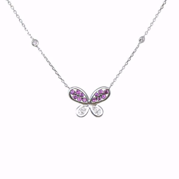 Picture of Elegant Ruby & Diamond Butterfly Necklace