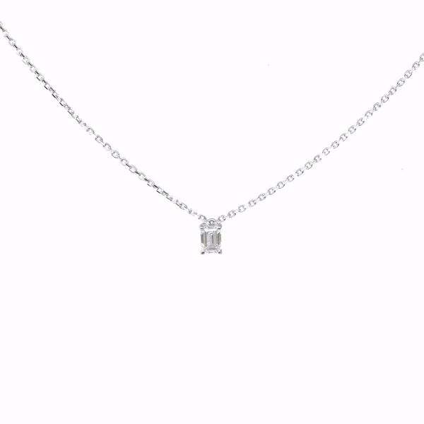 Picture of One Stone Emerald Cut Diamond Necklace