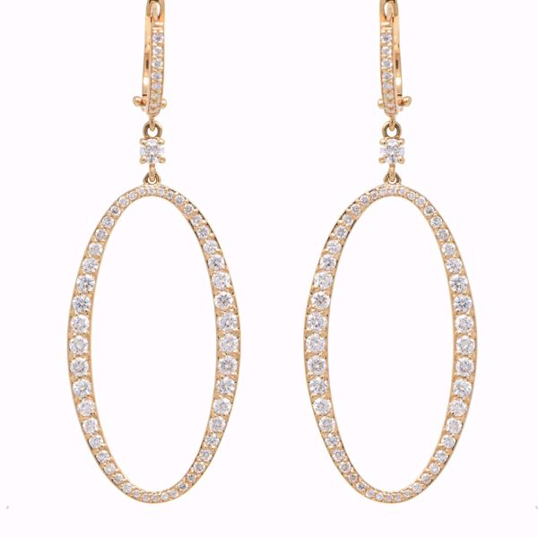 Picture of Charming Oval Diamond Hoops Earrings