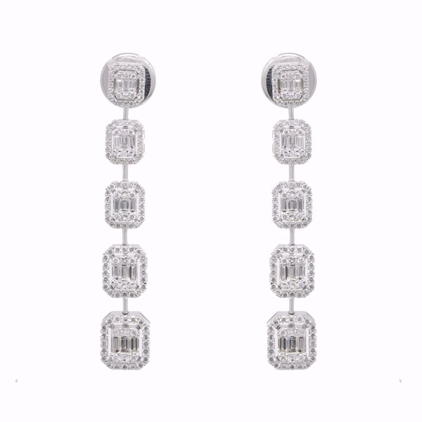 Picture of Fancy Tall Emerald Cut Diamond Earrings