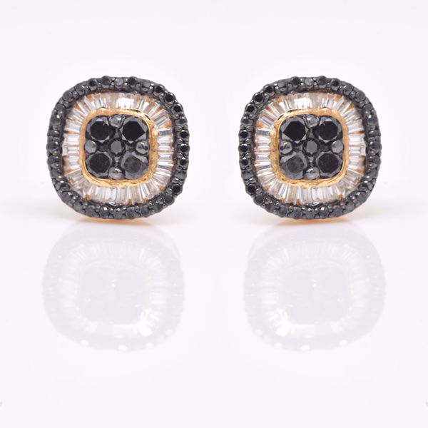 Picture of Adorable Cushion Illusion White and Black Diamond Earrings