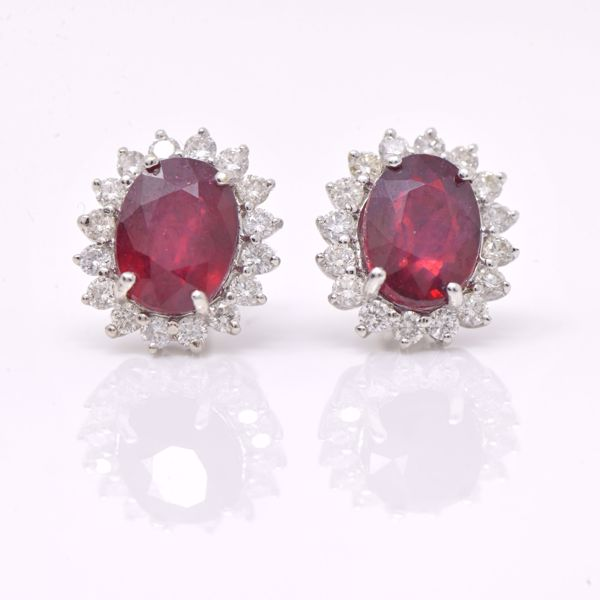 Picture of Classic Ruby and White Diamond Earrings