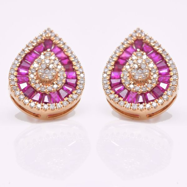 Picture of Tear Ruby and White Diamond Studs