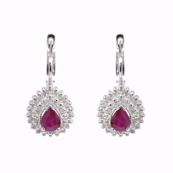 صورة White and Ruby Diamond Luxury Teardrop Earrings