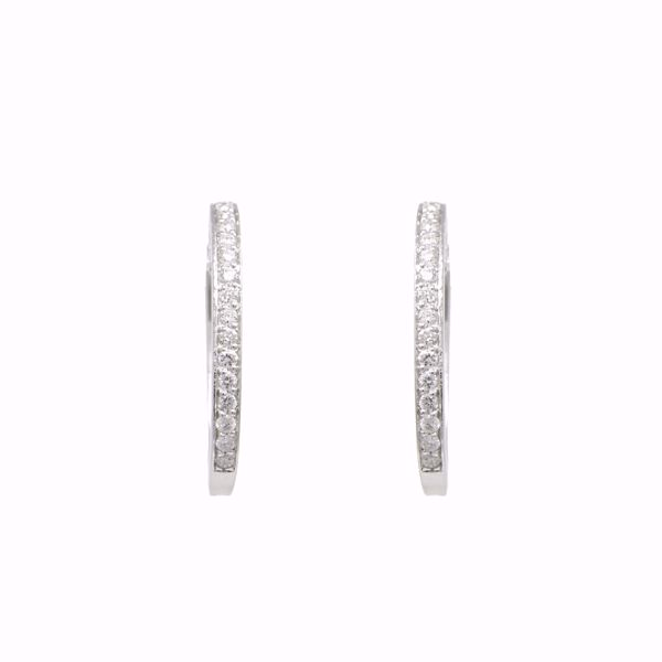 صورة Small white Diamond Oval Hoops