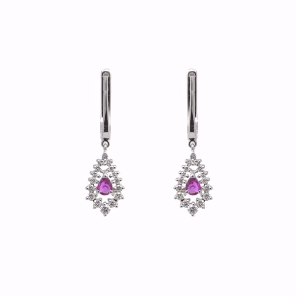 صورة Drop Ruby and Diamond Earrings