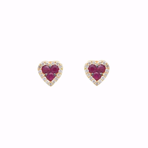 Picture of Heart Ruby and White Diamond Studs