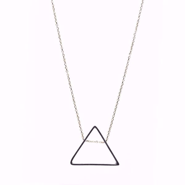 J.R.S. Black Gold Triangle Necklace Front View