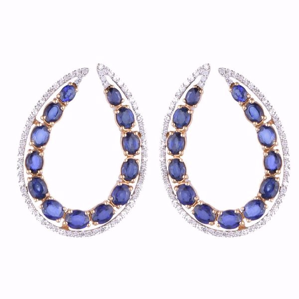 Picture of Fancy Curved Sapphire Earrings