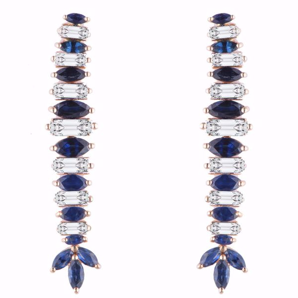 Picture of Stylish Diamond & Sapphire Earrings