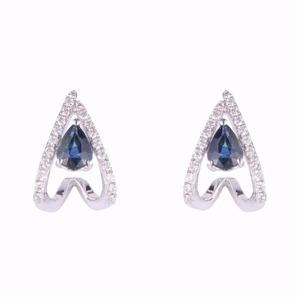 Picture of Simple Diamond & Sapphire Earrings