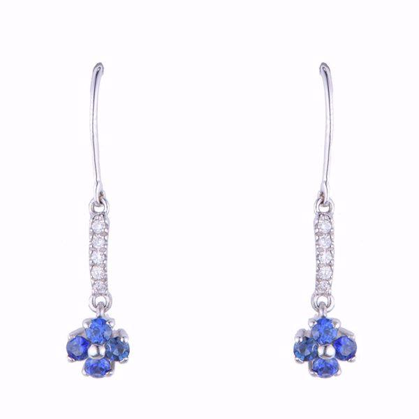 Picture of Diamond & Sapphire Cross Earrings