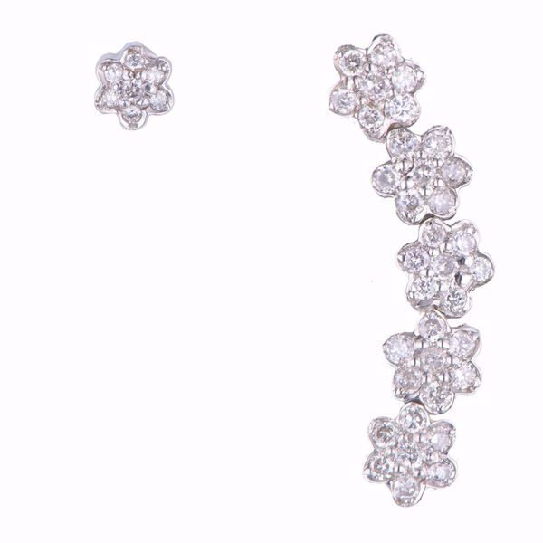 Picture of White Diamond Flowers Earrings