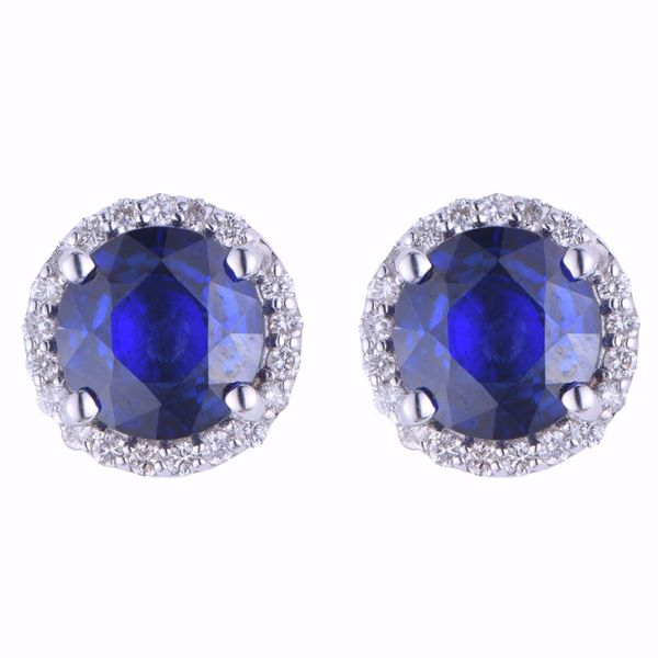 Picture of Treated Sapphire & Diamond Earrings