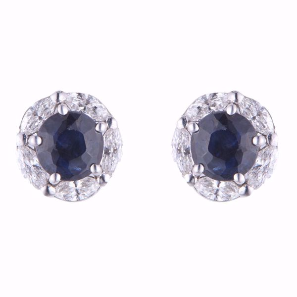 Picture of Sapphire & White Diamond Earrings