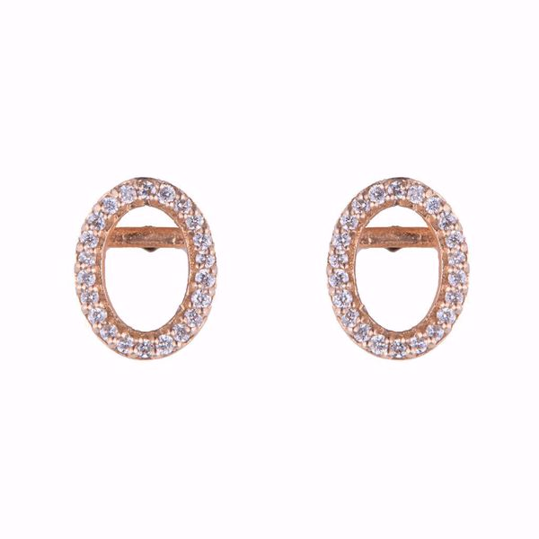 صورة Oval Pink Gold Diamond Earrings