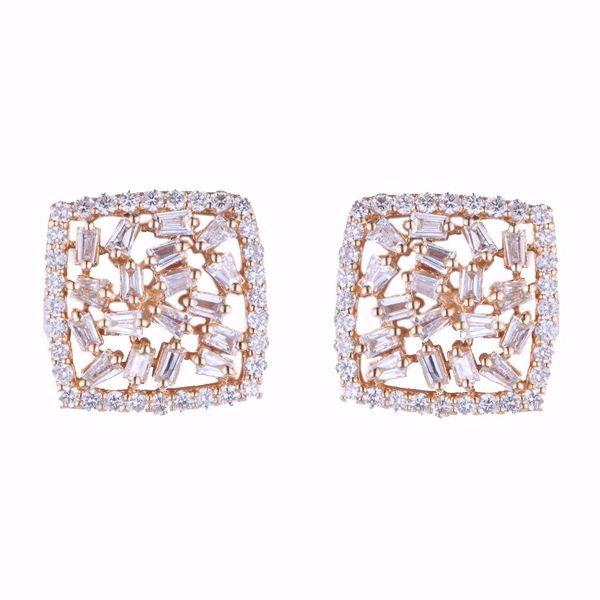 Picture of Pink Square Diamond Earrings