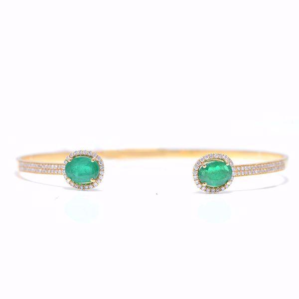 Picture of Green Emerald & Diamond Bangle
