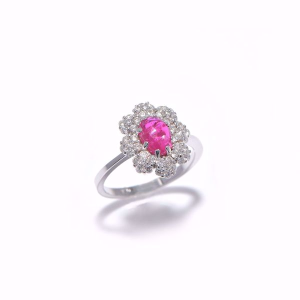 Picture of Unique Diamond & Ruby Flower Ring