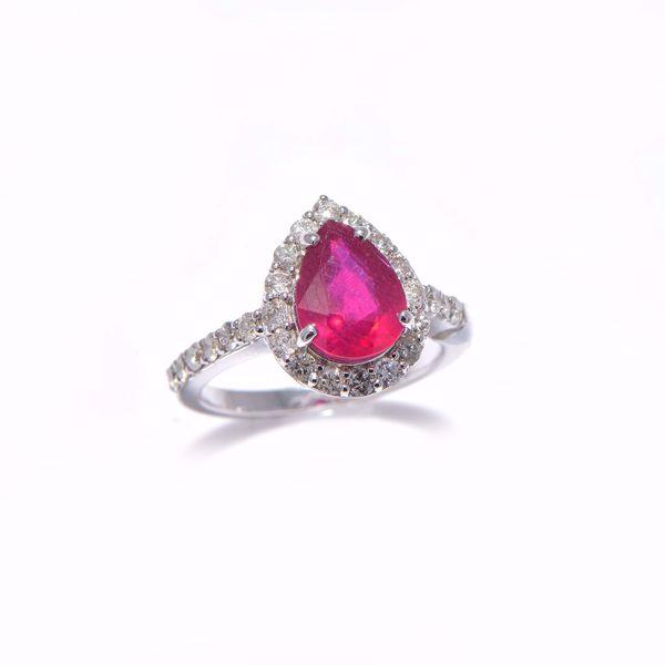 Picture of Ravishing White Diamond & Ruby Ring