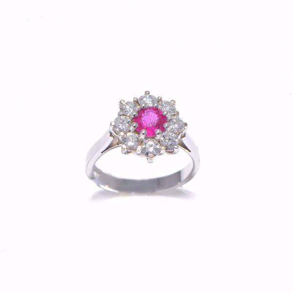 Picture of Engaging Ruby & Diamond Flower Ring