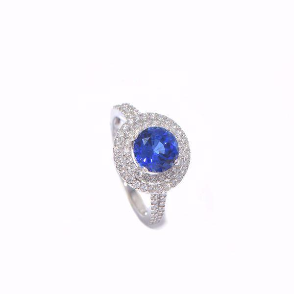 صورة Classic Diamond & Sapphire Ring