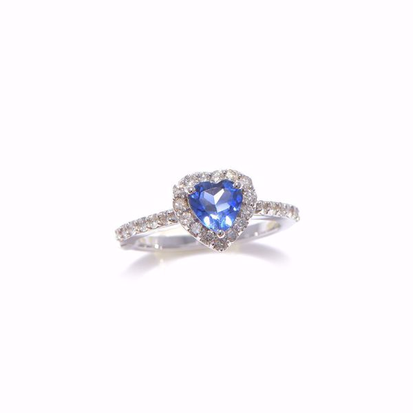 Picture of Heart Shaped Sapphire & Diamond Ring