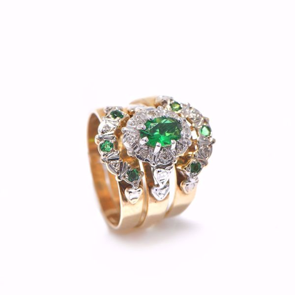Picture of Engaging Falamank Emerald & Diamond Ring
