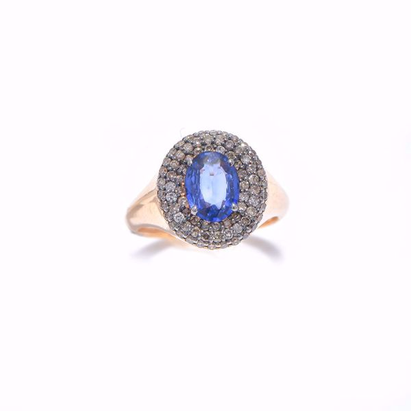 Picture of Astonishing Sapphire & Diamond Pinky Ring