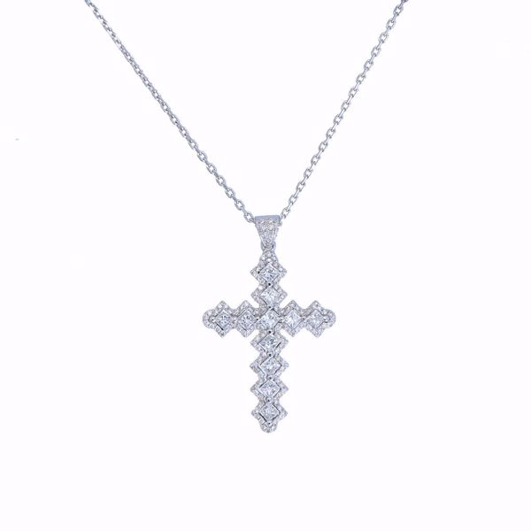 Picture of Remarkable White Diamonds Cross Necklace