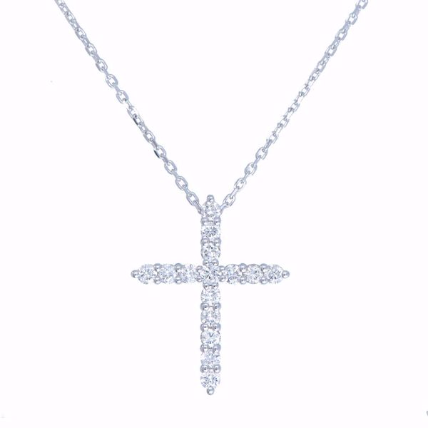 Picture of Classic White Diamond Cross Necklace
