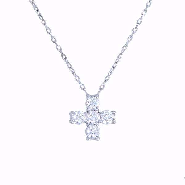 Picture of Tiny Round Diamond Cross Necklace