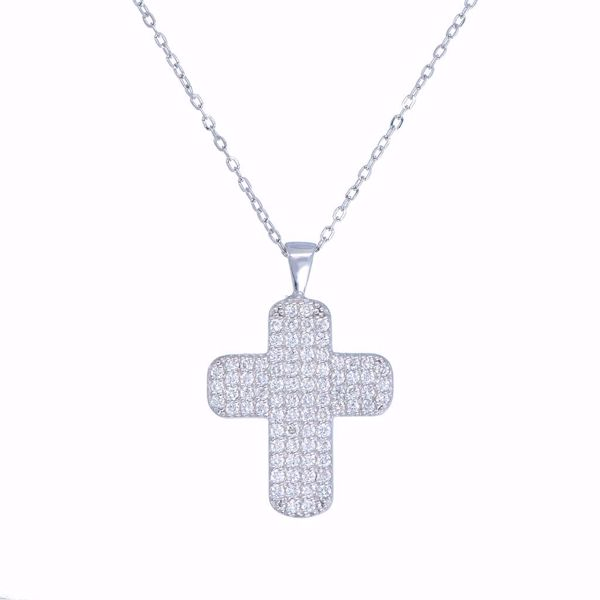 Picture of Lovely White Diamond Cross Necklace