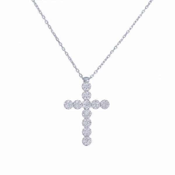Picture of White Diamond Illusion Cross Necklace