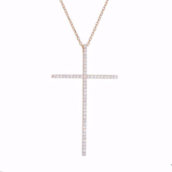 Picture of Attractive White Diamond Cross Necklace