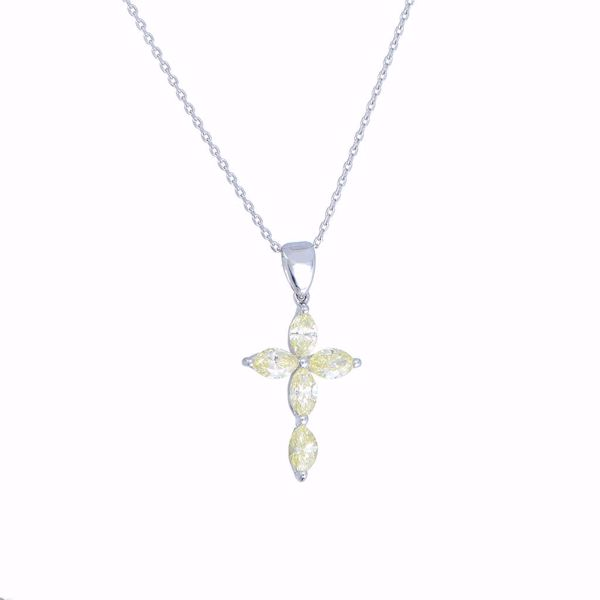 Picture of Fancy Yellow Diamond Cross Necklace