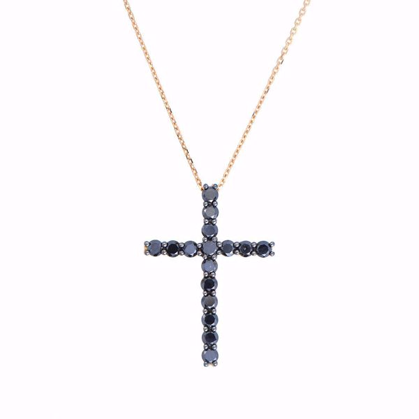 Picture of Classy Black Diamond Cross Necklace