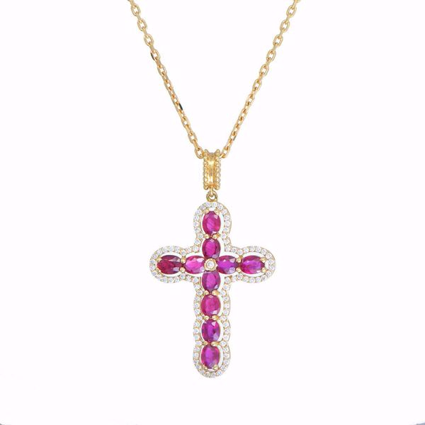 Picture of Lovely Rubies & White Diamond Cross Necklace