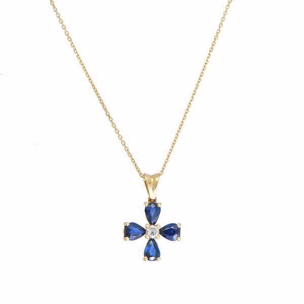Picture of Shinny Sapphire & Diamond Cross Necklace