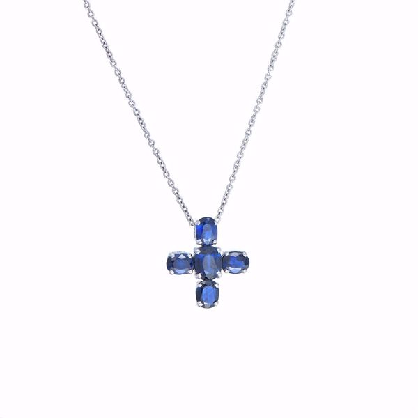 Picture of Classy Sapphire Cross Necklace