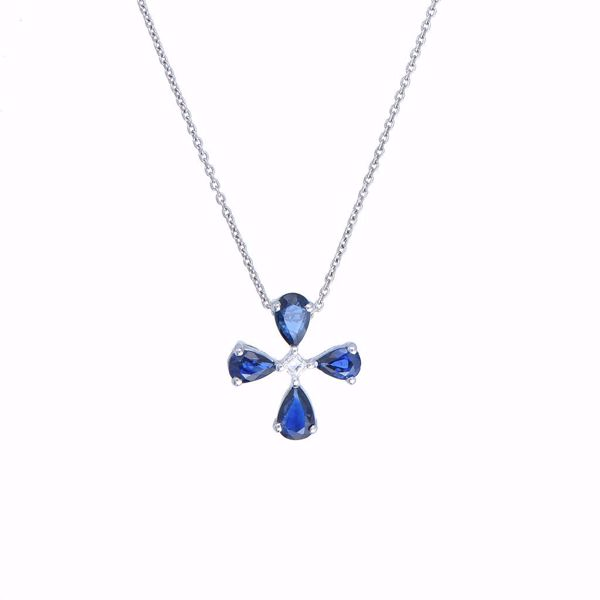 Picture of Lovely Sapphire & Diamond Cross Necklace
