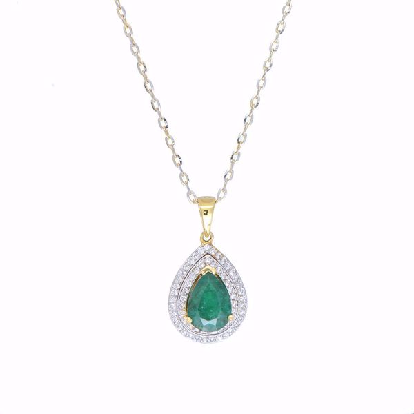 Picture of Classic Emerald & Diamond Tear Necklace