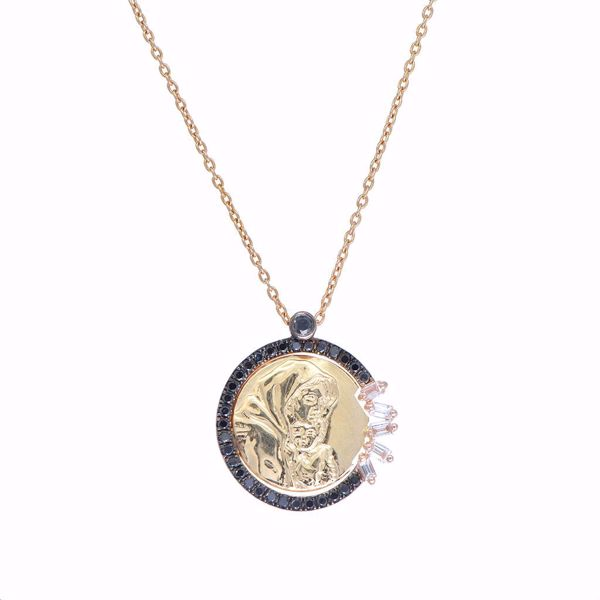 Picture of Diamond Pave Virgin Mary Icon Necklace